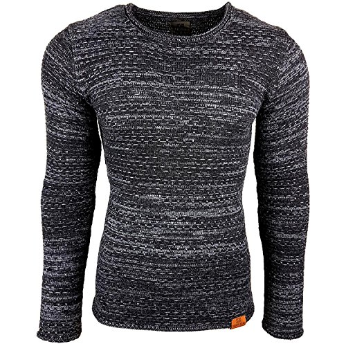 Subliminal Mode - Pull Chic Classe Fin Homme Tricot SB-13269 Petite Maille Bleu
