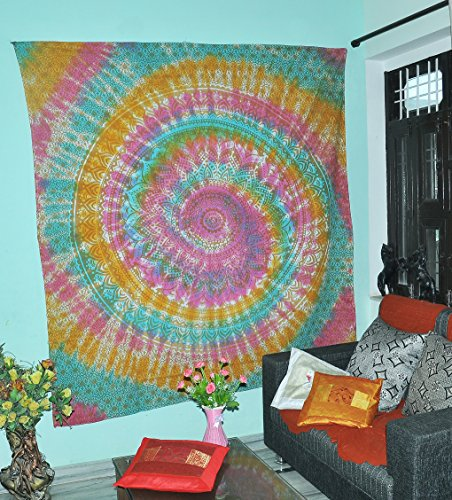 Gold Ombre Multi Farbe Tie Dye Indische Wand hängende Hippie Mandala Tapisserie böhmische Tagesdecke Ethnische Wohnheim Dekor (Dye Farbe Tie Multi)