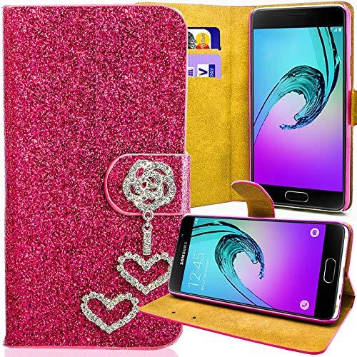 numerva LG Optimus L7 II Strass Hülle, Schutzhülle [Glitzer Case, Bling Design Handyhülle] Cover PU Leder Tasche für LG P710 Optimus L7 2 Handytasche [Pink]