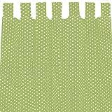 Sugarapple Dekoschal, Gardine, Vorhang (über 35 Farben wählbar) mit Schlaufen aus Baumwolle für Kinderzimmer und Babyzimmer. 2 Schals, Breite 143 cm, Länge 250 cm, Apfelgrün mit weißen Sternen