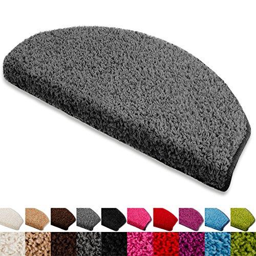 Floordirekt Stufenmatten Treppenmatten Shaggy - Venus Halbrund 10 Aktuelle Farben SparSet 15 Stck. (grau)