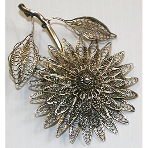 Superb Vintage Plata de ley filigrana broche de flor de 3d