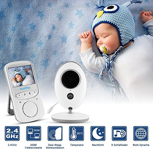 "Babyphone 2.4 GHz Baby monitor 2.4"" HD Digital  Video Babykamera Mit VOX Funktion Wireless Weiß - 2"