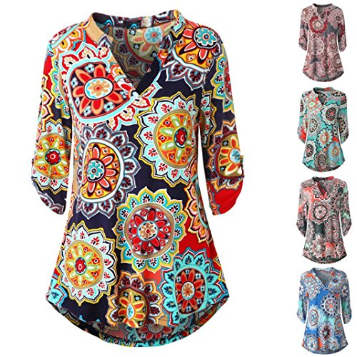 Wawer Women's Summer Roll-Up Tops, Ladies Three Quarter Sleeved Loose T-Shirt,V-Neck 3/4 Sleeve Printed Tops Blouse for Club/Party/Daily/Beach