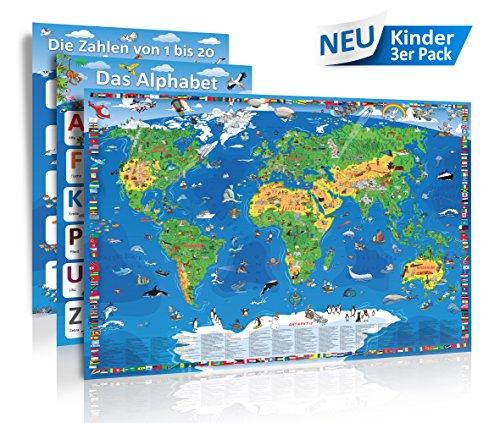 Kinder 3er Pack - XXL/1,35 Meter Panorama Kinder Weltkarte + Das Alphabet (Poster) + Die Zahlen von 1 bis 20 (Poster) - Limitierte Sonder-Edition 2017 - Landkarten Papier, gerollt, matt antireflexierend laminiert (beschreib- und abwaschbar)