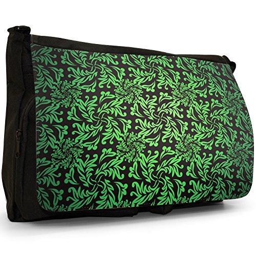 Elegante motivo floreale carta da parati–Borsa Tracolla Tela Nera Grande Scuola/Borsa Per Laptop verde