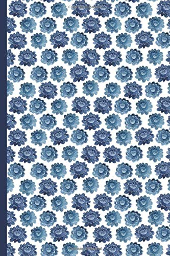 Notes: A Blank Dot Grid Notebook with Indigo Watercolor Flower Cover Art -