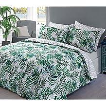 Tropical Palm Leaf Motif à carreaux avec housse de couette + taies d'oreiller toutes les tailles, Palm Leaf Green, Simple
