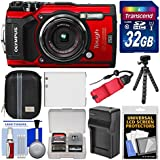 Olympus Tough TG-5 4K Wi-Fi GPS Shock & Waterproof Digital Camera (Red) with 32GB Card + Case + Battery & Charger + Tripod + Float Strap + Kit