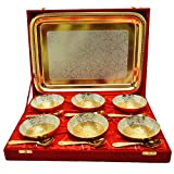 #9: Adidev Brass Silver And Gold Plated Designer Bowl Set With Serving Spoons And Trays