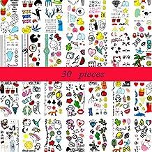 (30 feuilles) Tatouages temporaires pour les enfants, autocollants de tatouage de graine de lin enfants partie imperméable à l'eau faux tatouage de main, plus de 300 conceptions