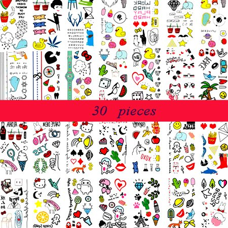 (30 Hojas) Tatuajes Temporales para Niños, Tatuajes de Linaza Pegatinas para niños Fiesta de Tatuaje Falso a Mano, más de 300 Diseños