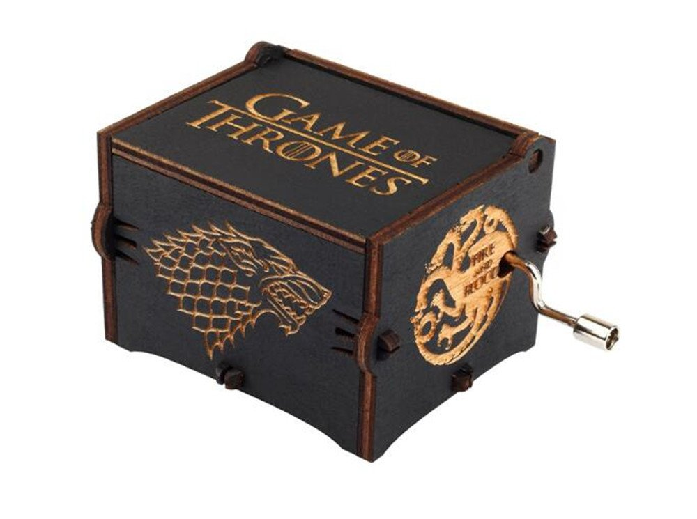 Cuzit Game of Thrones Movie Theme Music Box Wooden Engraved Hand Crank Musical Toy Winter is coming Tune Great Gift For GOT Fans Husband Friend Dad Father Man-Black 2