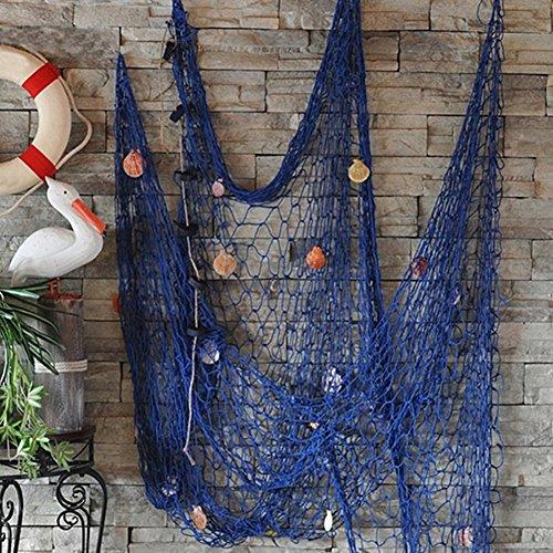 ungen Rustikale Dekorativ Fisch Netz Angeln Netz Dekor Ozean Piraten Strand Thema Partydekorationen Südländischer mit Muscheln Nautischer Stil (Blau) - Blau, free size ()