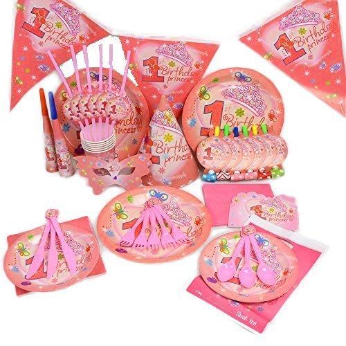 Trimming Shop Mein 'Little Princess' - Geburtstag Hochzeit Party Dekoration Geschirr Cartoon 15 Stück Set (Pink) (Princess Party Teller Und Tassen)