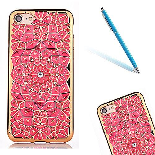 iPhone 7 Caso Cassa Back Cover, CLTPY Marvel Colorato Belle Particolari 3D Cristallo Modello del Diamante Disegni Shell Skin in Liscio Smooth Toccare Gomma,Resistente Urti Antiurto Chiaro Cristallo Po Rosa-1
