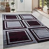 Moderner Design Geometrie gesäumt Guenstige Teppich Kurzflor Schwarz Grau Rot meliert 5 Groessen Wohnzimmer Gästezimmer, Flur, Schlafzimmerm, Kueche, Läufer, Größe:160x230 cm