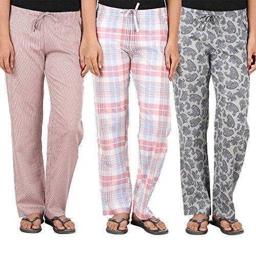 antshrike Lot de 3pyjama en coton tissé femmes pyjama Pantalon pour homme Multicolore