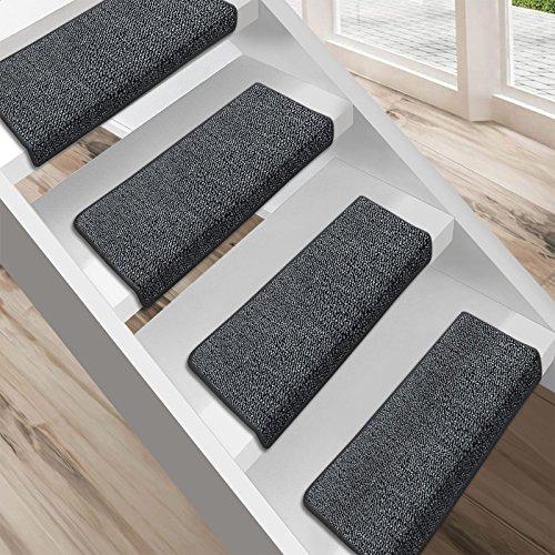 """Floordirekt 15 Stück Preiswerte Stufenmatten """"London"""" halbrund und rechteckig in 11 Farben (eckig, groß, dunkelgrau)"""