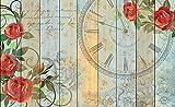 Tapeto Fototapete - Rosen Uhr Holzbretter Vintage - Papier 368 x 254 cm (Breite x Höhe) - Wandbild Jahrgang