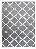 Orientalisches Marokkanisches Teppich - Dichter und Dicker Flor Modern Designer Muster - Ideal Für Ihre Wohnzimmer Schlafzimmer Esszimmer - Grau Weiß - 140 x 190 cm Casablanca Kollektion von Carpeto