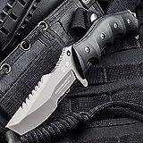 HX OUTDOORS Premium Qualität Überlebensmesser,Companion Messer, Outdoor Survival Messer, Jagdmesser, 440C Edelstahl,Rutschfester G10 Griff (D-124)