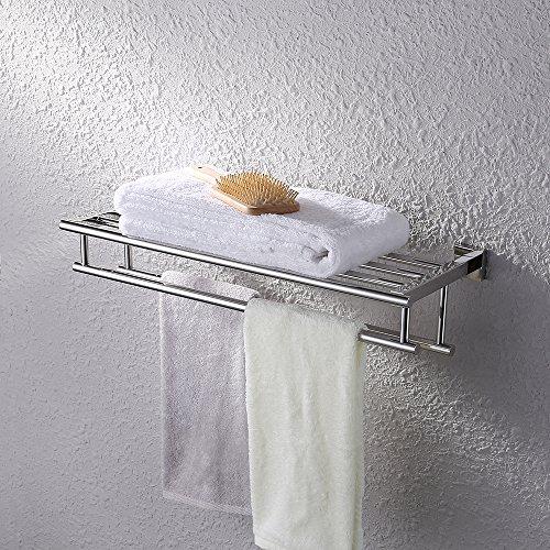 KES Handtuchhalter, Badezimmer-Regal mit 2 Stangen Edelstahl Stahl Dusche Badetuchhalter Modernes Design, Silber, A2112