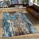 Paco Home Designer Teppich Bunte Holz Optik Hoch Tief Optik In Türkis Gelb Grau Meliert, Grösse:80x150 cm