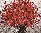 TianMai Nouvelle Peinture par Numéros - Arbre Rouge 16 * 20 pouces lin toile - Numérique Pétrole La peinture Toile Kits pour Adultes Enfants - Mur Art Ouvrages d'art Paysage Peintures Pour Accueil Vivant Chambre Bureau Photo Décor Décorations Cadeaux (Sans Cadre)