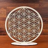 Blume des Lebens Holz Ø 28 cm Tischdekoration | Lebensblume Symbol Birkenholz stehend | Esoterik Geschenke Deko günstig kaufen