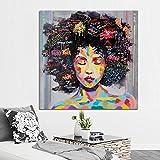 Kicode Abstrakte Moderne Afrikanische Frauen Porträt Leinwand Ölgemälde auf Drucke Home Wohnzimmer Kunst Bild