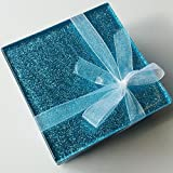 Fused Glass Light Blue Glitter Coasters set of 6