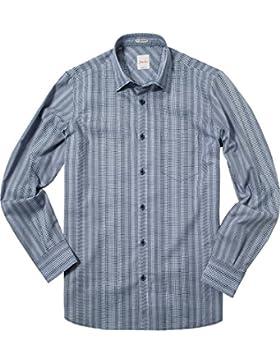 Signum Herren Hemd Kent Baumwolle & Mix Oberhemd Gemustert, Größe: M, Farbe: Blau