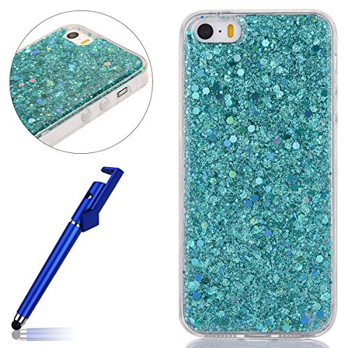 Custodia iphone 5S, Cover per iphone SE Silicone, iphone 5 Glitter Cover, MoreChioce Moda Glitter Sparkle Bling bling Brillante Morbido 3d Gel TPU Silicone Gomma Cover Case Custodia per iphone 5S, Ult B-Verde