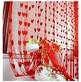 fengge Diele Panneau de Mauer Kette in Herzform-Faden Vorhang Tür Fenster Dekor (rot)