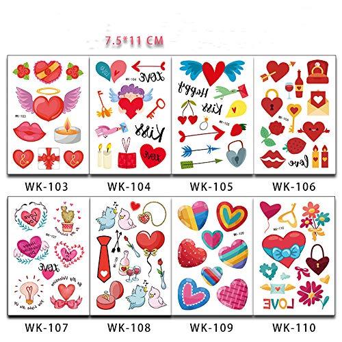adgkitb Kinder Cartoon Liebe Liebe Tattoo Aufkleber 1 7,5x11cm