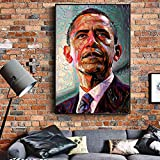 American Modern Wall Art Canvas Portrait of President Obama on The Wall of Canvas Painting Art Picture for Living Room 30x45cm No Frame