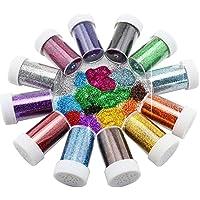 Botes con purpurina de Xshelley, ideales para niños, manualidades y decoración con purpurina, 12 colores variados