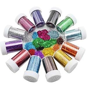 Xshelley, spargi glitter, adatti per attività per bambini, lavori creativi, biglietti e decorazioni, in 12colori assortiti