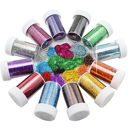 Xshelley Glitter Shakers for Children Kid's Craft Activities,Arts & Crafts Glitter,Card Making,Decorating,12 Assorted Colours