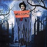 SUNREEK hängenden Animierten Sound und Touch Aktiviert Skelett Ghost Halloween Dekoration mit Leuchtenden Roten Augen (4ft/122cm)