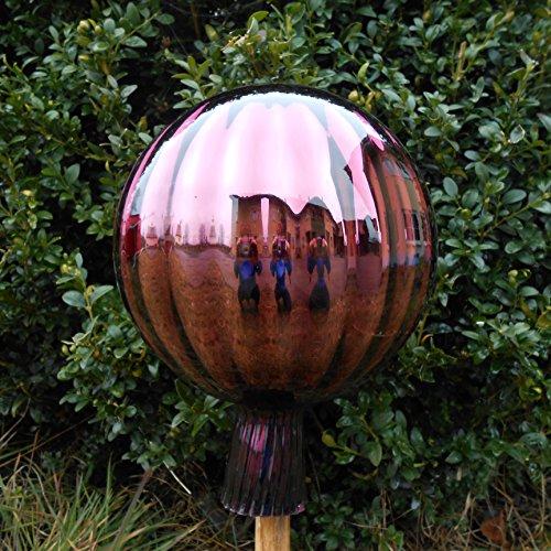 Naturholz-Schreinermeister XXL Rosenkugel Rillenoptik Höhe 23cm Durchmesser 18cm Rosenkugeln Gartenkugel Handarbeit stabieles Glas verspiegelt und wetterfest (Violett)