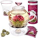 Teabloom Herzförmiger Blütentee – Geschenk-Set mit 12 zusammengestellten Blühenden Teeblumen - Grüner Tee + Jasmin, Granatapfel, Erdbeere, Rose, Litchi & Pfirsich - 5