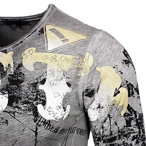 Rusty Neal Herren Langarm Figurbetont Longsleeve Hemd T-Shirt Slim 10130 Neu Anthrazit
