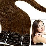 Haarteil Weft Weave zum Einnähen, 100% Echthaar, glatt, seidig, Güteklasse AAA, 40cm, Schokoladenbraun Farbe Nr.4