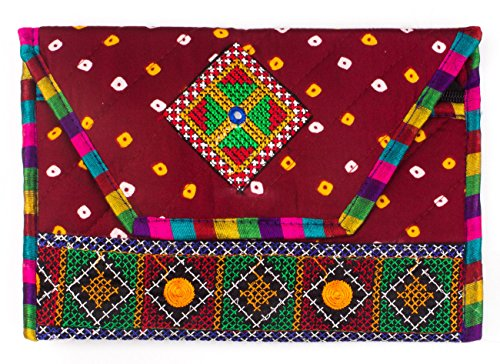 Ole Fashion Beautiful Embroidered Traditional bandhni Kathyawadi Style Sling Bag for Girls Women (Maroon)  available at amazon for Rs.279
