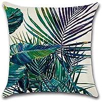 TREESTAR Funda de cojín de lona con diseño de bosque de lluvia verde, 45 x 45 cm, funda de almohada cuadrada para interior y exterior, 1 unidad, lona, Tropical Plant Style 4, 45*45CM
