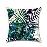 Cosanter Tropische Pflanzen Kissenhüllen aus Baumwolle mit Reißverschluss, 45 x 45 cm