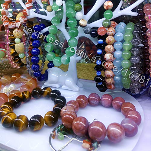 Imported From Abroad Floral Pattern Natural Stone X Frosted 8 Mm Beads Sleeping Energy Emotion Comfort Unisex Bracelet Gift Strand Bracelets