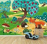 """Bilderdepot24 selbstklebende Fototapete """"Kinderbild - Tiere im Wald"""" 130x100 cm - direkt vom Hersteller"""